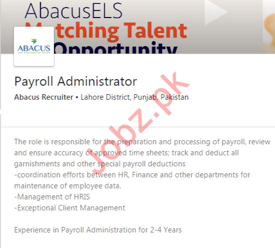 Payroll Administrator Job 2020 in Lahore