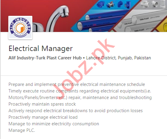 Electrical Manager Job 2020 in Lahore