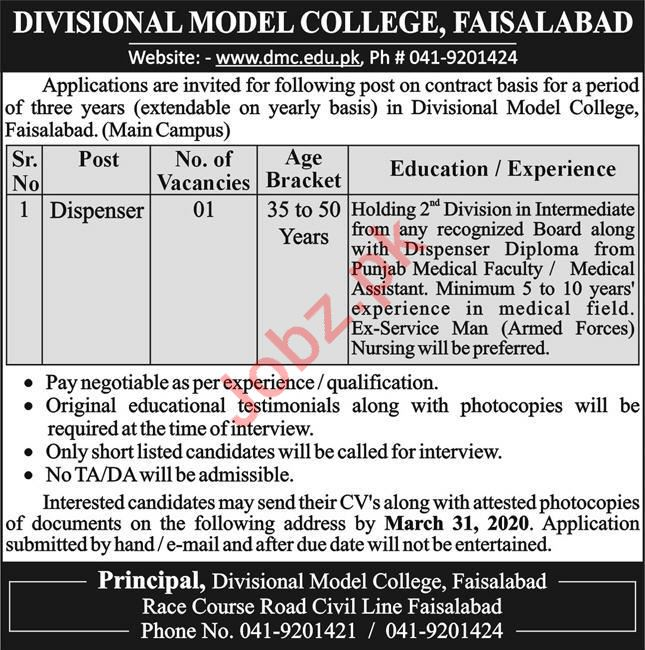 Dispenser Jobs in Divisional Model College Faisalabad