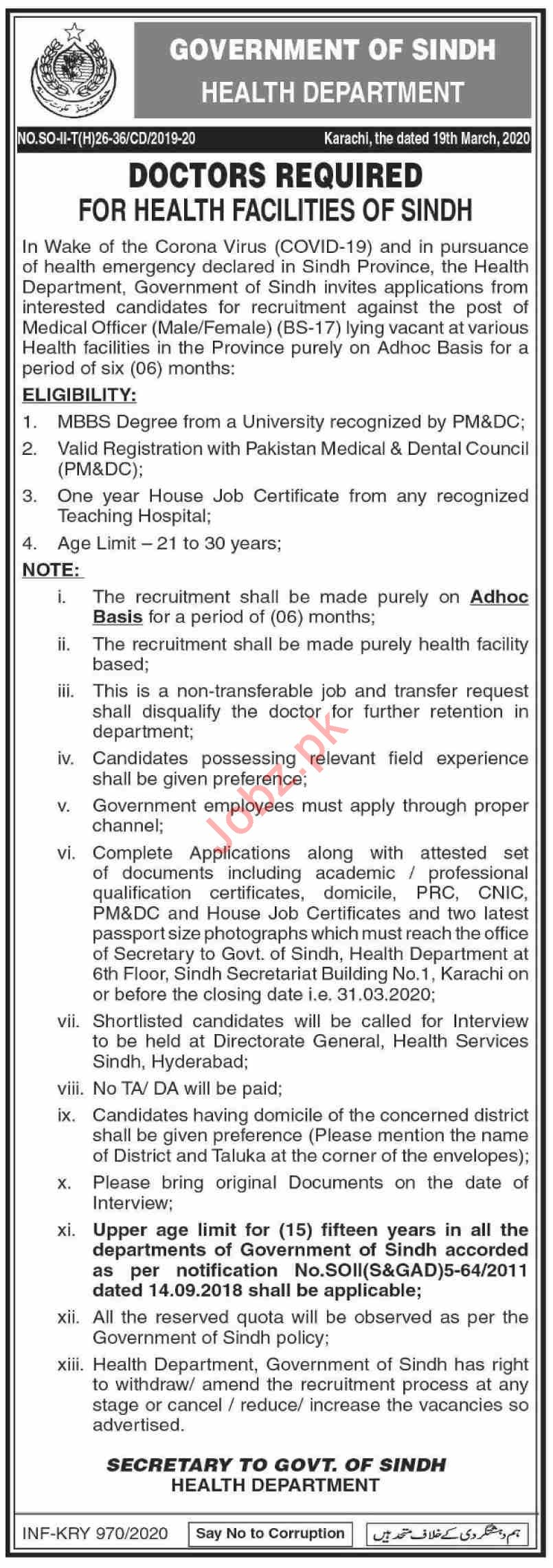 Health Department Sindh Jobs 2020 for Medical Officers