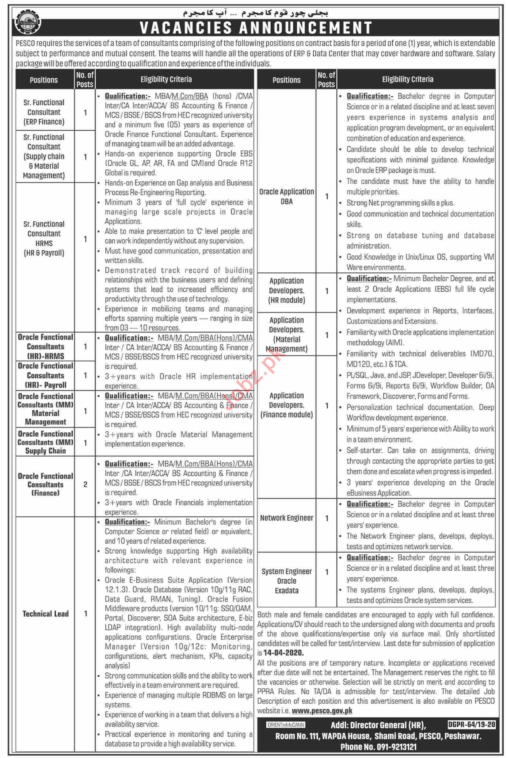 PESCO Peshawar Electric Supply Company Peshawar Jobs 2020