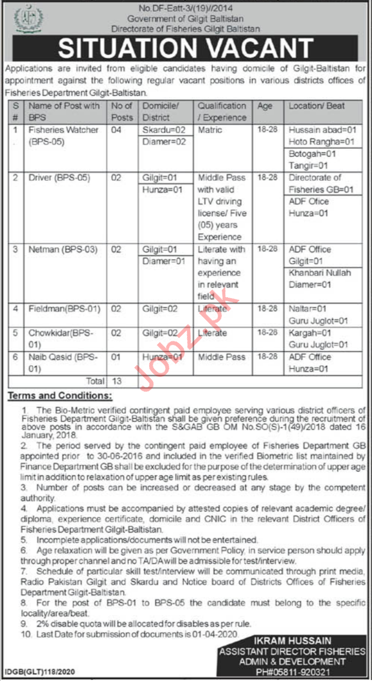 Directorate of Fisheries Gilgit Baltistan Jobs 2020