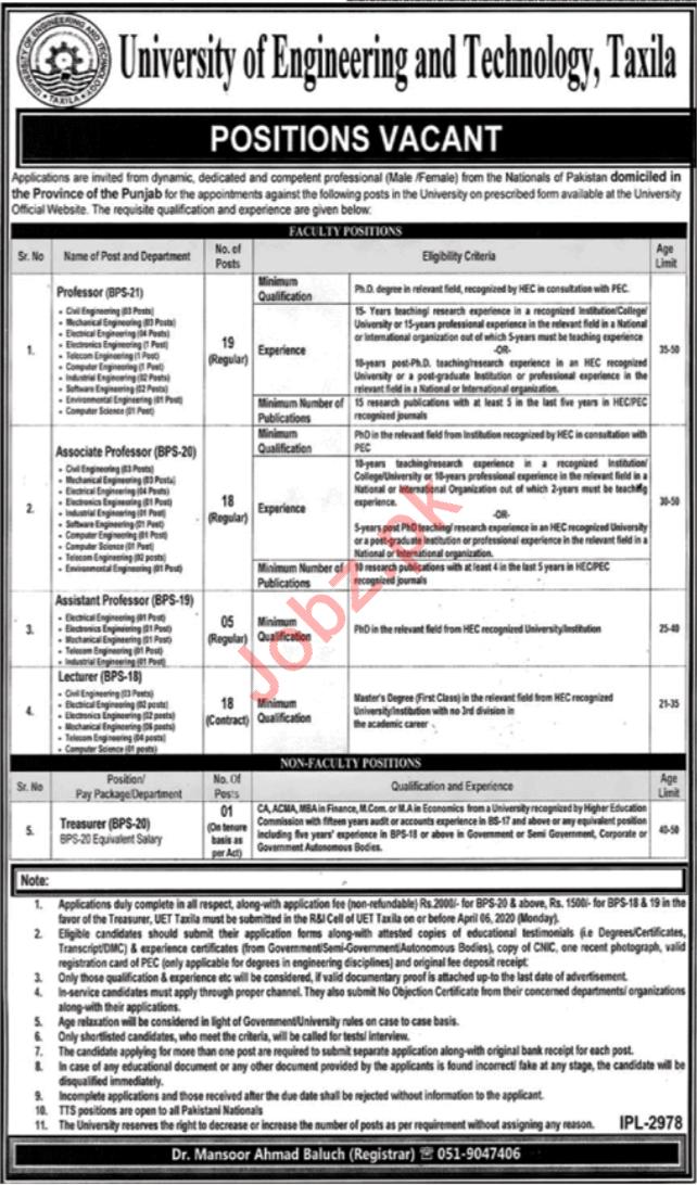UET Taxila Teaching Staff & Treasurer Jobs 2020
