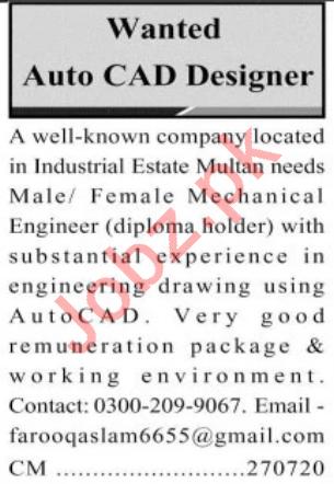 Auto CAD Designer Jobs in Private Company in Multan