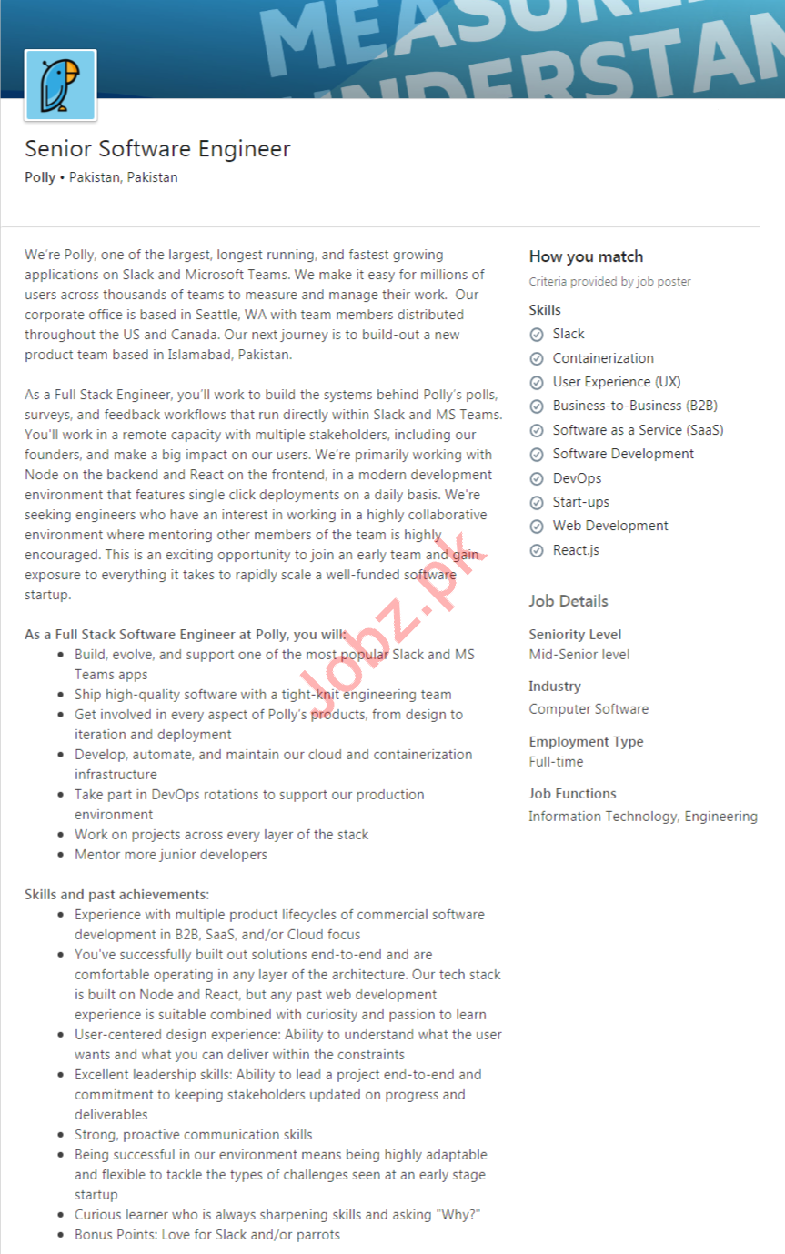 Polly Pakistan Software Engineer Jobs 2020