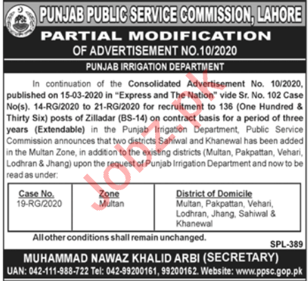 PPSC Punjab Irrigation Department Jobs 2020