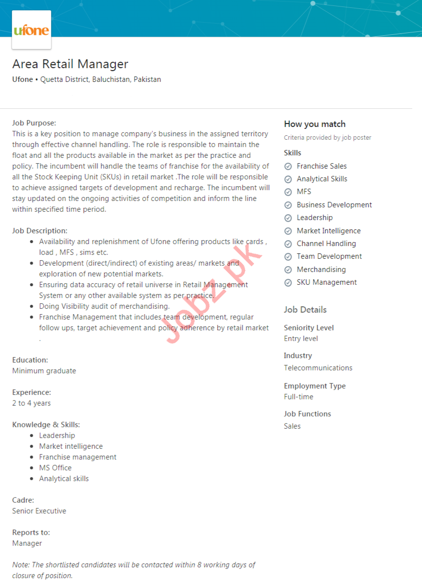 Area Retail Manager Job 2020 in Quetta Balochistan