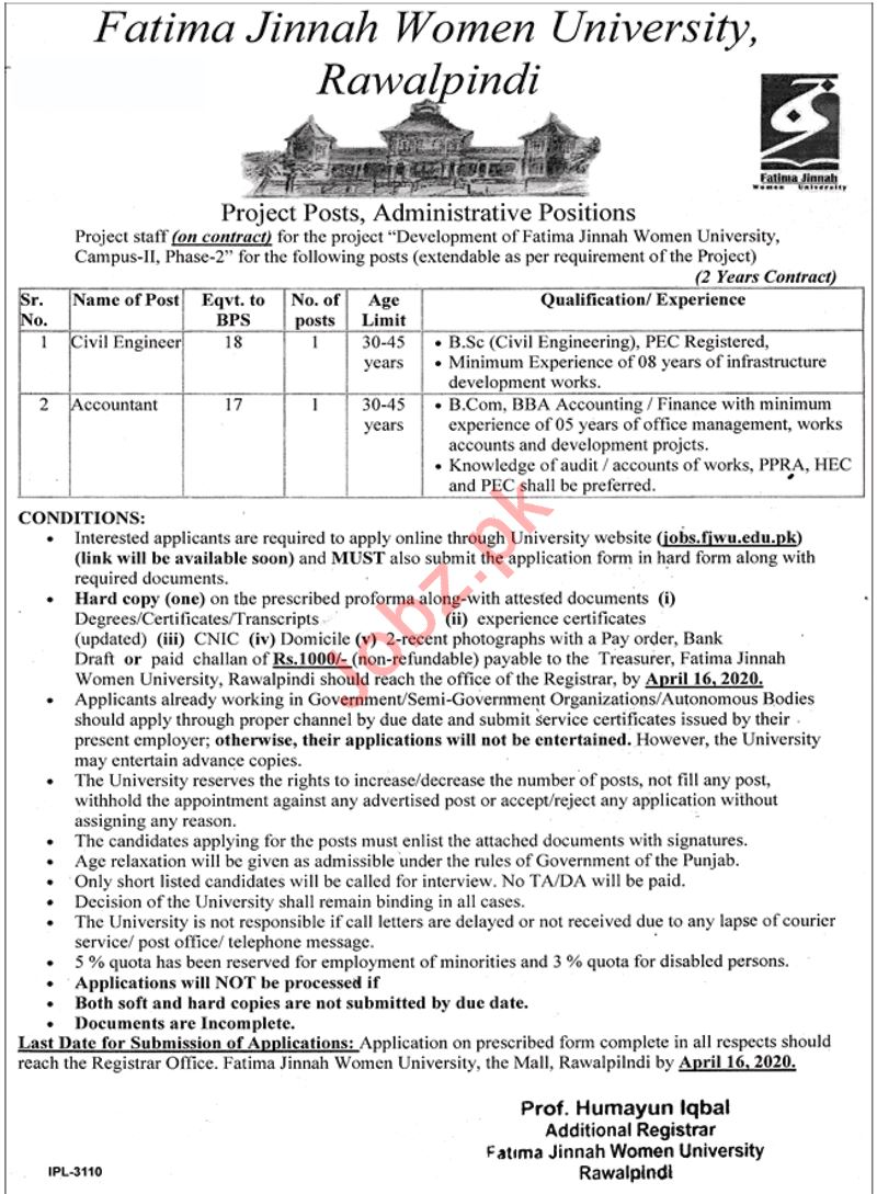 Fatima Jinnah Women University Rawalpindi Jobs 2020