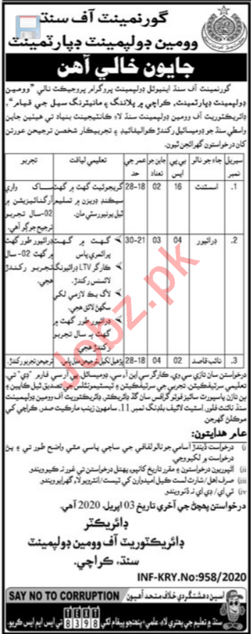 Women Development Department Jobs 2020 in Karachi
