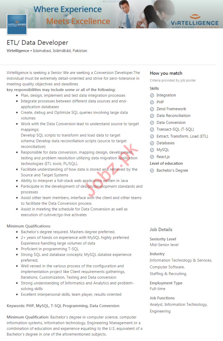 ETL Developer & Data Developer Jobs 2020 in Islamabad