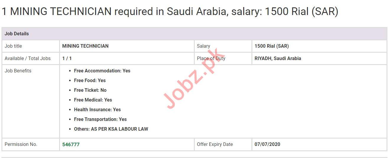 Mining Technician Jobs in Riyadh Saudi Arabia