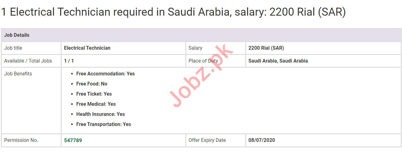 Electrical Technician Jobs in Saudi Arabia