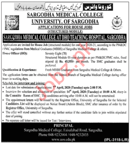 Sargodha Medical College Jobs 2020
