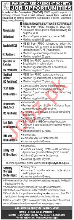 Pakistan Red Crescent Society Jobs 2020 in Islamabad