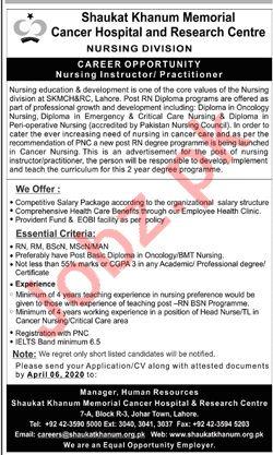Shaukhat Khanum Cancel Hospital Jobs 2020 in Lahore