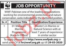 WWF Pakistan Jobs 2020 in Karachi