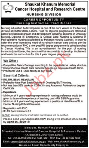 Shaukat Khanum Memorial Cancer Hospital Nursing Jobs 2020