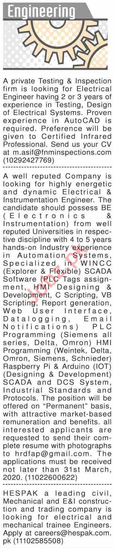 Dawn Sunday Classified Ads 22nd March 2020 for Engineering