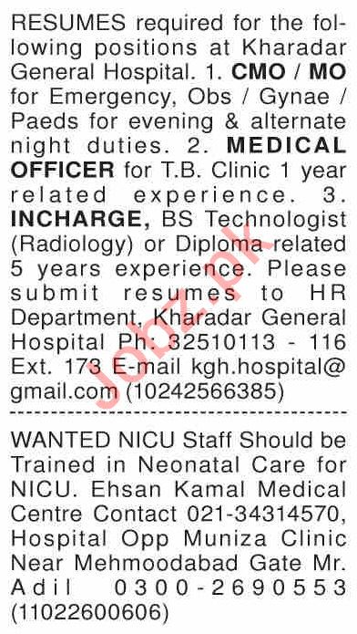 Dawn Sunday Classified Ads 22nd March 2020 for Medical Staff