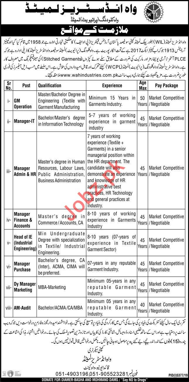 Wah Industries Limited WIL Jobs 2020