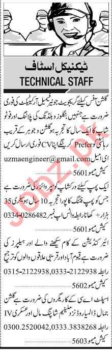 Jang Sunday Classified Ads 22nd March 2020 for Technical