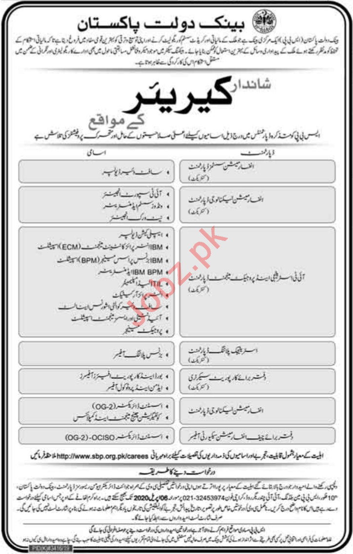 State Bank of Pakistan SBP Management Staff Jobs