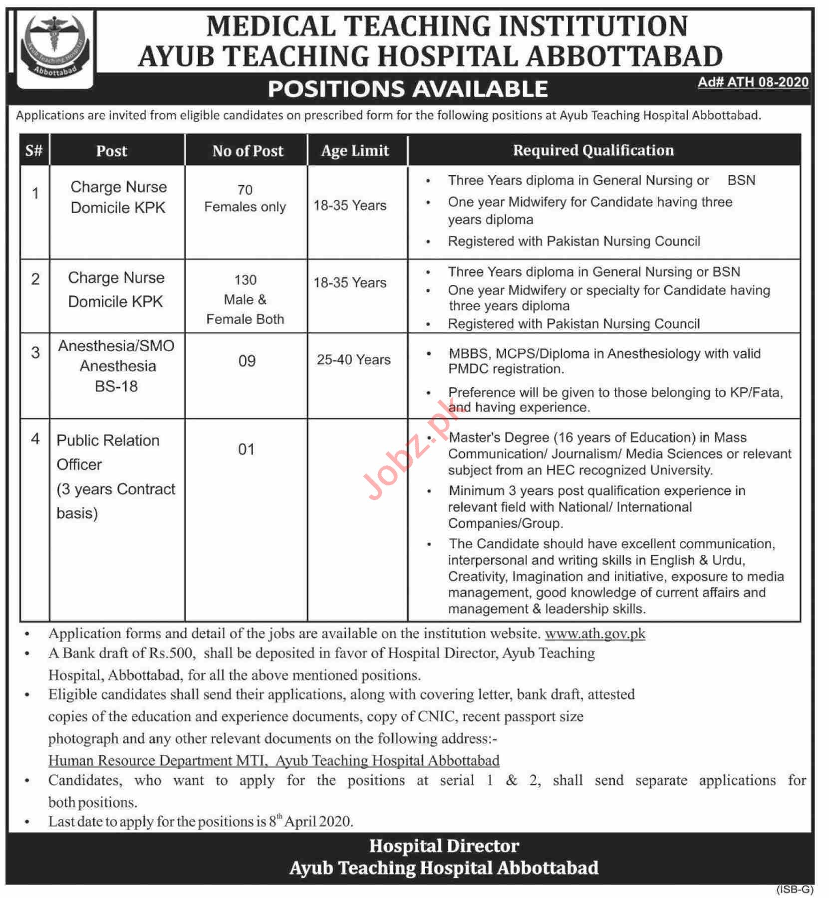 Ayub Teaching Hospital ATH Abbottabad Jobs 2020 for Nurses