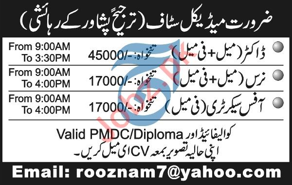 Doctor & Nurse Jobs 2020 in Peshawar