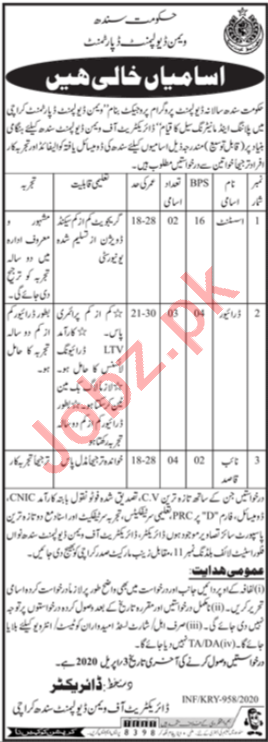Directorate of Women Development Sindh Jobs 2020