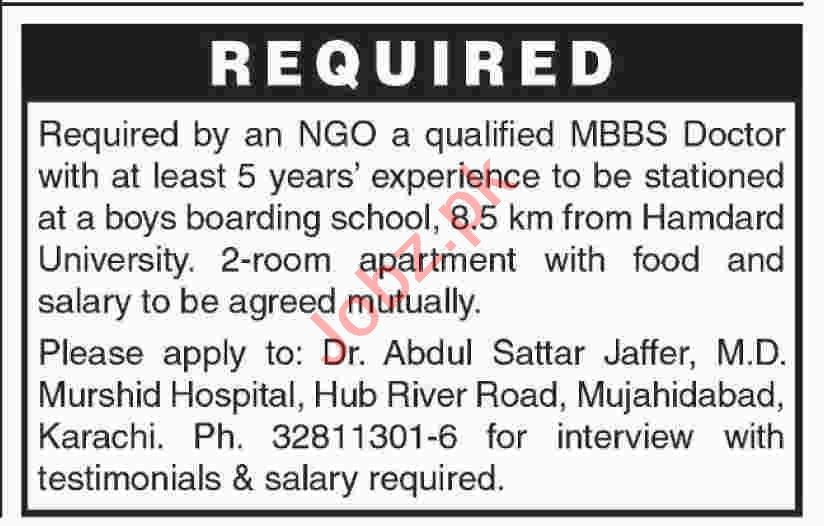 MBBS Doctor Jobs 2020 in Boys Boarding School Karachi