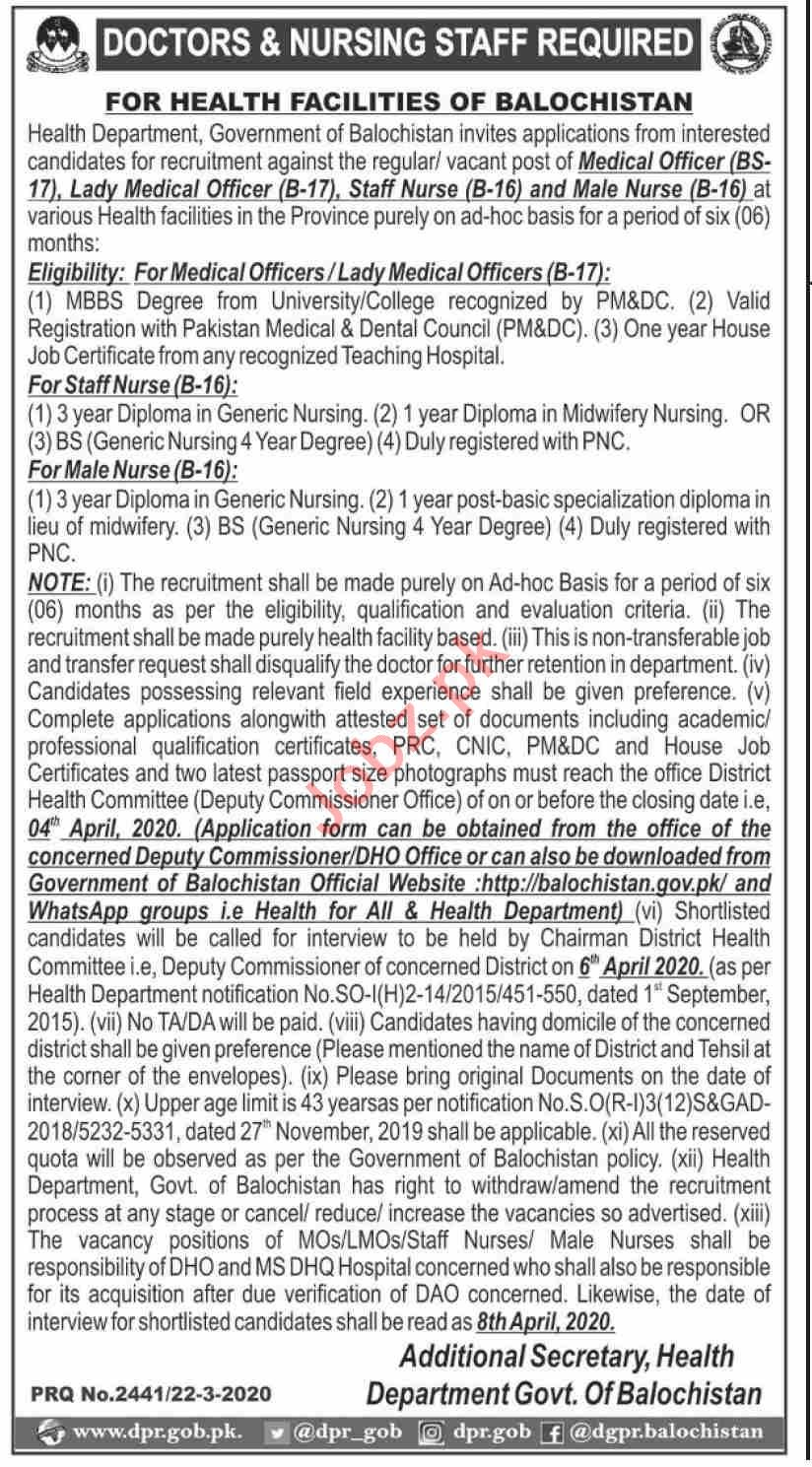 Medical Officers & Staff Nurse Jobs in Health Department