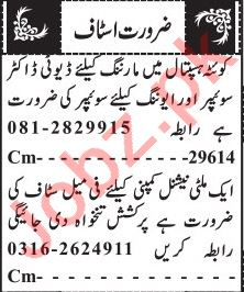Doctors & Female Staff Jobs 2020 in Quetta