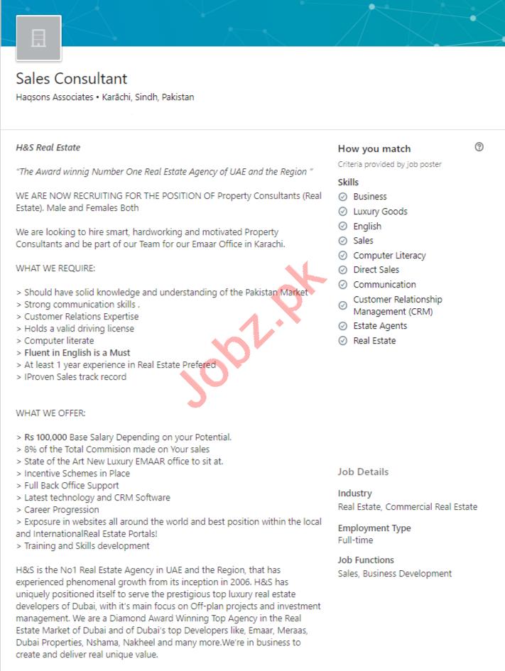 Haqsons Associates Karachi Jobs 2020 for Sales Consultant