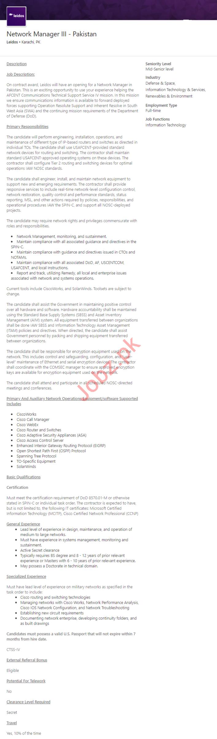 Leidos Karachi Jobs 2020 for Network Manager