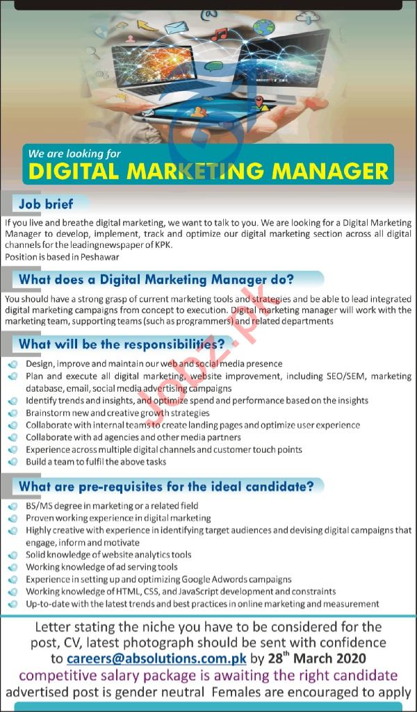 AB Solutions Peshawar Jobs 2020 Digital Marketing Manager