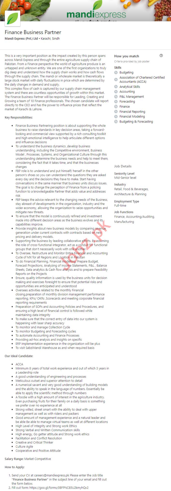 Mandi Express Karachi Jobs for Finance Business Partner