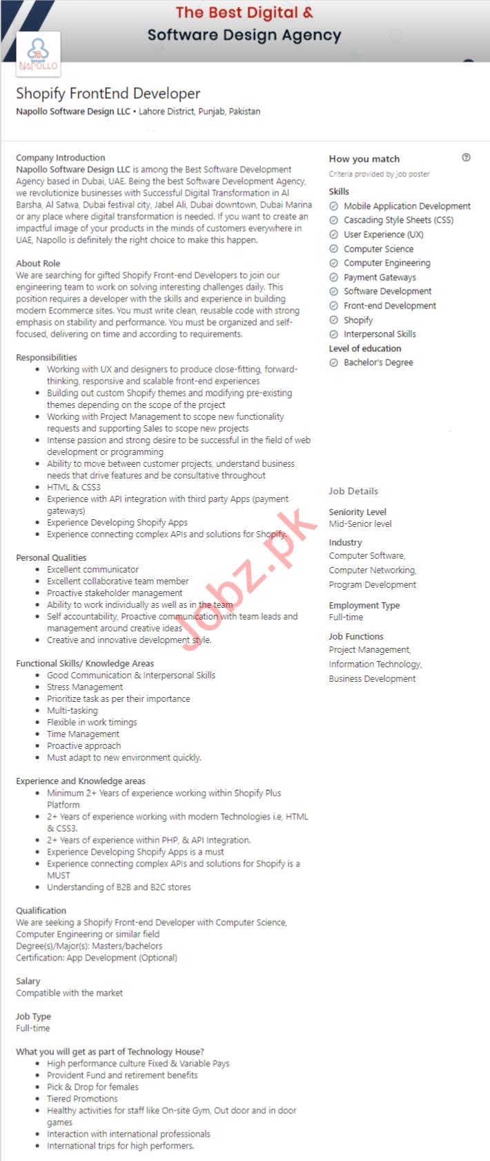Napollo Software Design LLC Lahore Jobs 2020