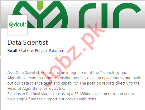 Ricult Lahore Jobs 2020 for Data Scientist