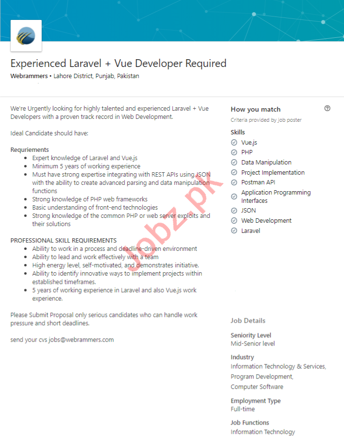 Webrammers Lahore Jobs 2020 Laravel Developer