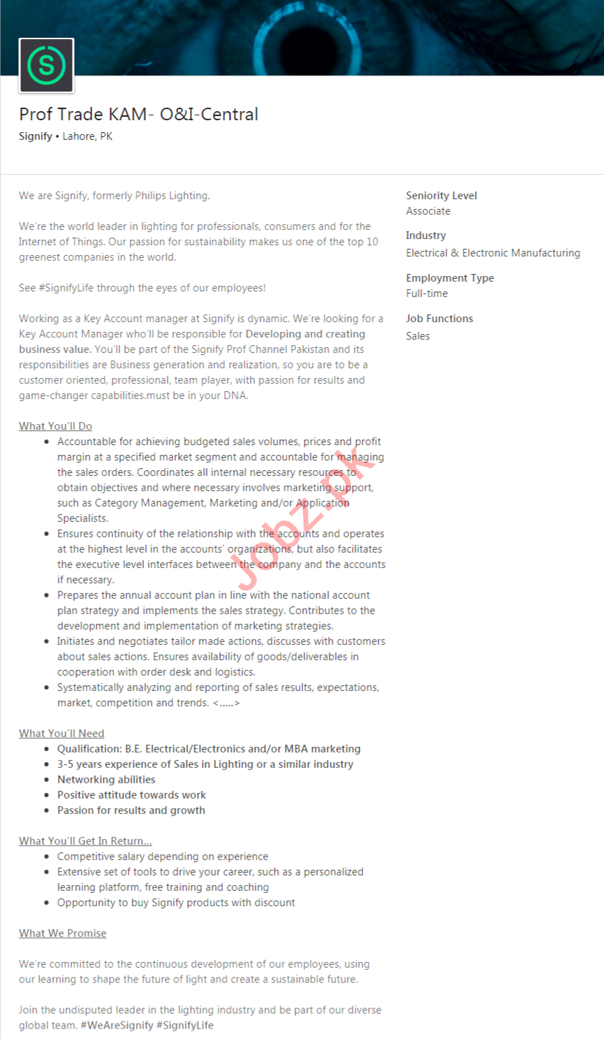 Signify Lahore Jobs 2020 for Prof Trade KAM