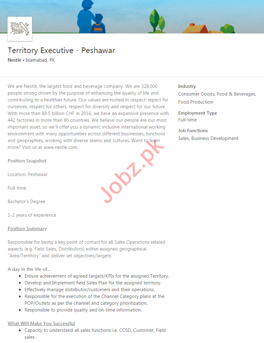 Nestle Peshawar Jobs 2020 for Territory Executive