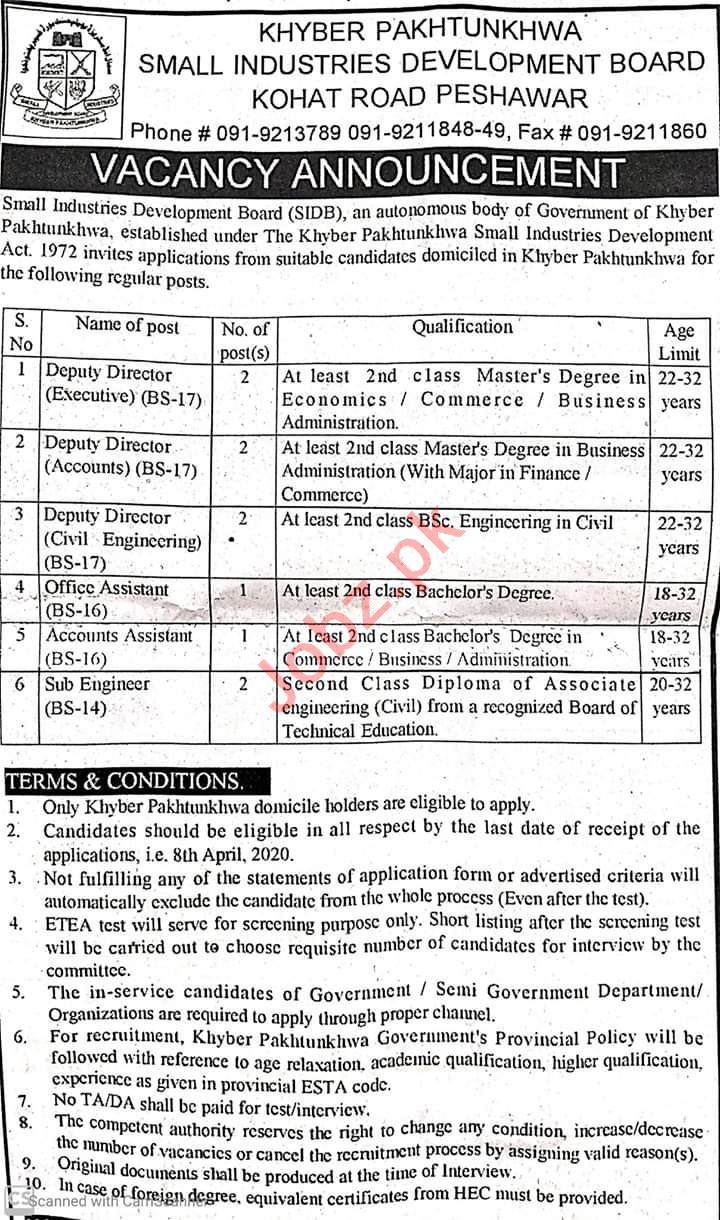 Small Industries Development Board SIDB Peshawar Jobs 2020