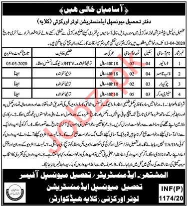 TMA Lower Orakzai Jobs 2020 for Drivers & Sanitary Workers