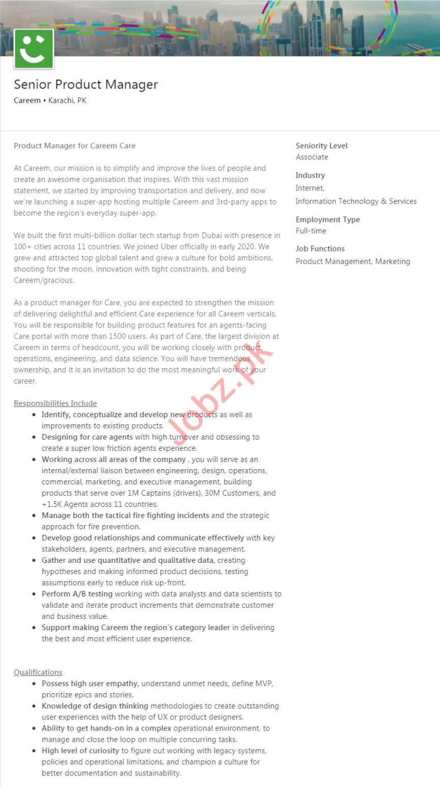 Careem Karachi Jobs 2020 for Senior Product Manager