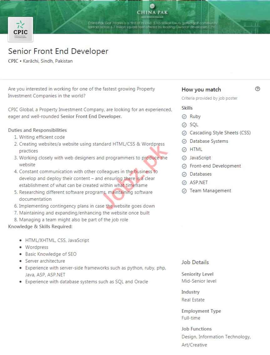 CPIC Karachi Jobs 2020 for Senior Front End Developer