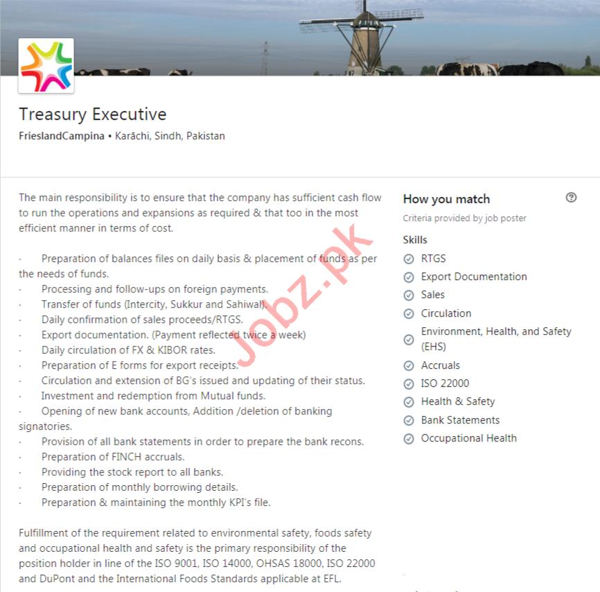 FrieslandCampina Karachi Jobs 2020 for Treasury Executive