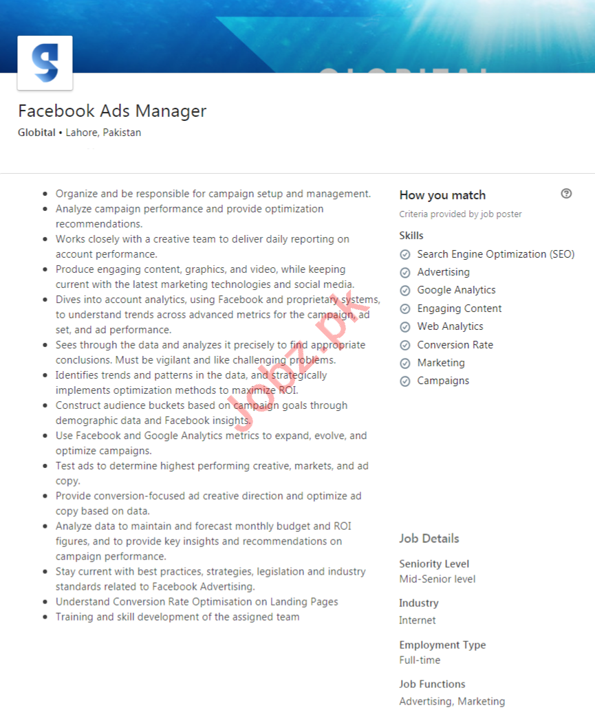 Globital Lahore Jobs 2020 for Facebook Ads Manager