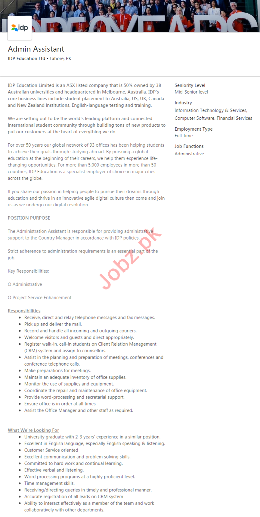 IDP Education Lahore Jobs 2020 for Admin Assistant
