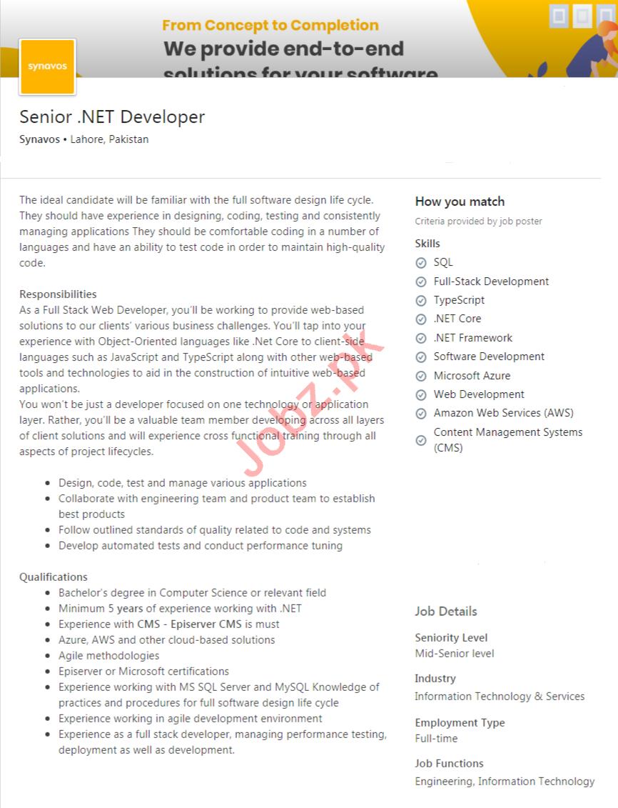 Synavos Lahore Jobs 2020 for Senior .NET Developer
