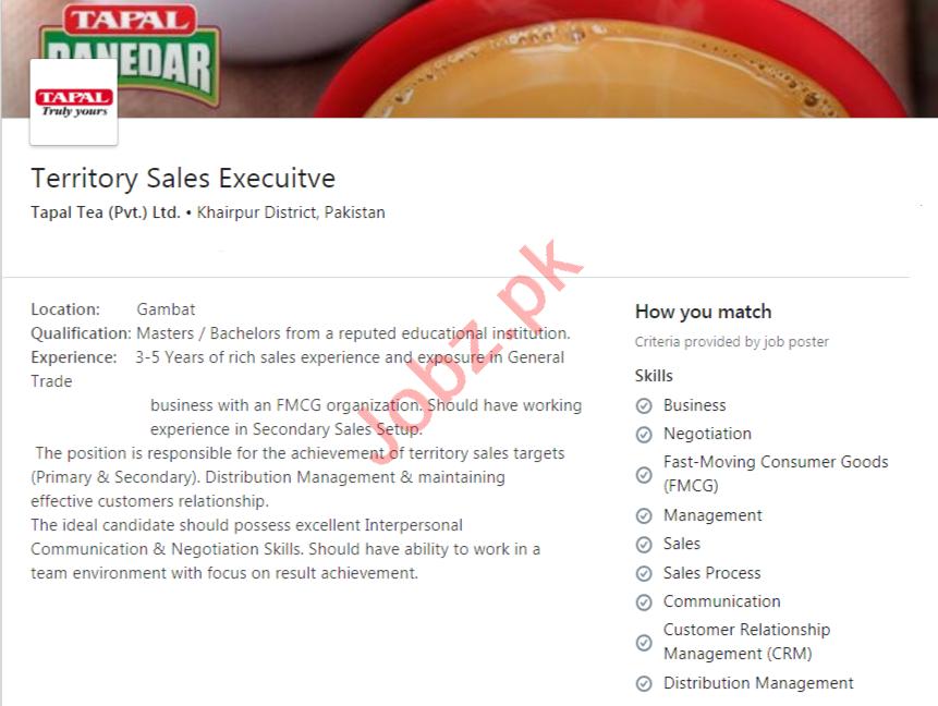 Tapal Tea Khairpur Jobs 2020 Territory Sales Executive